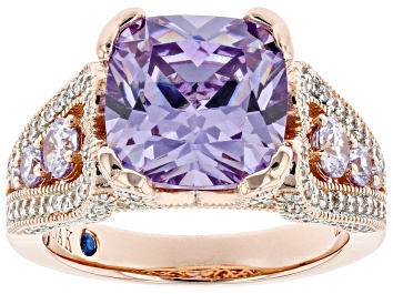 Picture of Lavender And White Cubic Zirconia 18k Rose Gold Over Sterling Silver Ring 9.09ctw