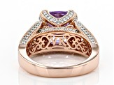 Lavender And White Cubic Zirconia 18k Rose Gold Over Sterling Silver Ring 9.09ctw