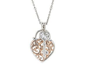 White Cubic Zirconia Platineve ® Heart And Key Pendant With Chain 0.68ctw