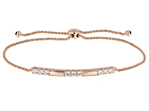White Cubic Zirconia 18k Rose Gold Over Sterling Silver Adjustable Bracelet 0.97ctw