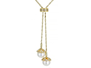 White Cubic Zirconia 18k Yellow Gold Over Sterling Adjustable Necklace