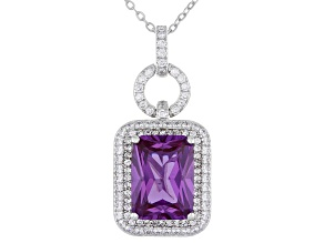 Lab created Purple Sapphire And White Cubic Zirconia Platineve® Pendant With Chain 6.26ctw