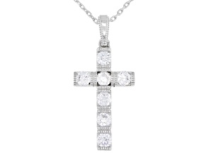 White Cubic Zirconia Platineve ® Cross Pendant With Chain 1.22ctw