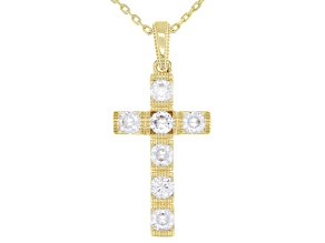 White Cubic Zirconia 18k Yellow Gold Over Sterling Silver Cross Pendant With Chain 1.22ctw