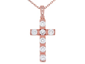 White Cubic Zirconia 18k Rose Gold Over Sterling Silver Cross Pendant With Chain 1.22ctw