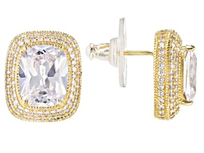 White Cubic Zirconia 18k Yellow Gold Over Sterling Silver Stud Earrings 12.11ctw