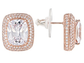 White Cubic Zirconia 18k Rose Gold Over Sterling Silver Stud Earrings 12.11ctw