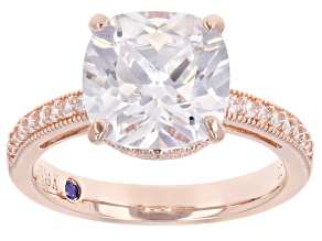 White Cubic Zirconia 18k Rose Gold Over Sterling Silver Ring 6.89ctw