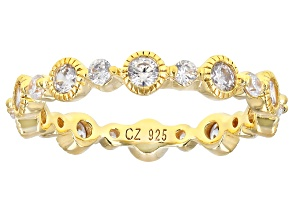 White Cubic Zirconia 18k Rose Gold Over Sterling Silver Eternity Band 1.66ctw