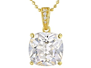 White Cubic Zirconia 18k Yellow Gold Over Sterling Silver Pendant With Chain 6.70ctw