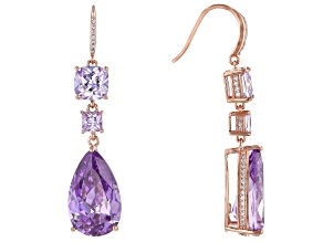 Purple And Lavender Cubic Zirconia 18k Rose Gold Over Sterling Silver Earrings 33.77ctw