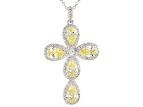 Yellow And White Cubic Zirconia Platineve Cross Pendant With Chain 7.99ctw