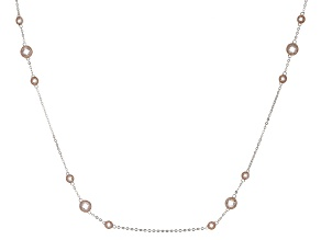 White Cubic Zirconia 18k Rose Gold Over Sterling Silver Necklace. 8.58ctw