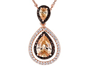 Champagne, White & Mocha Cubic Zirconia 18k Rose Gold Over Silver Pendant With Chain 4.56ctw