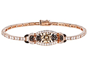 Champagne, White And Mocha Cubic Zirconia 18k Rose Gold Over Sterling Silver Bracelet 12.43ctw