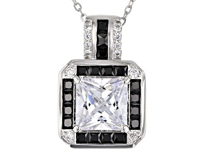 Black And White Cubic Zirconia Platineve Pendant With Chain. 5.39ctw