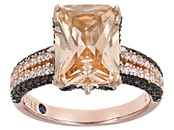 Picture of Champagne, White And Mocha Cubic Zirconia 18k Rose Gold Over Sterling Silver Ring. 12.12ctw