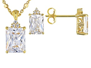 White Cubic Zirconia 18k Yellow Gold Over Sterling Silver Pendant With Chain & Earring Set 5.94ctw
