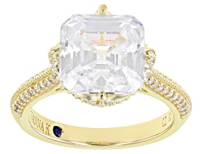 Whitw Cubic Zirconia 18k Yellow Gold Over Sterling Silver Ring 9.07ctw