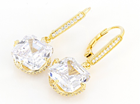 White Cubic Zirconia 18k Yellow Gold Over Sterling Silver Earrings 17.42ctw