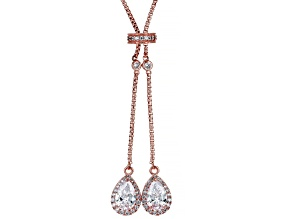 White Cubic Zirconia 18k Rose Gold Over Sterling Silver Drop Necklace 5.38ctw