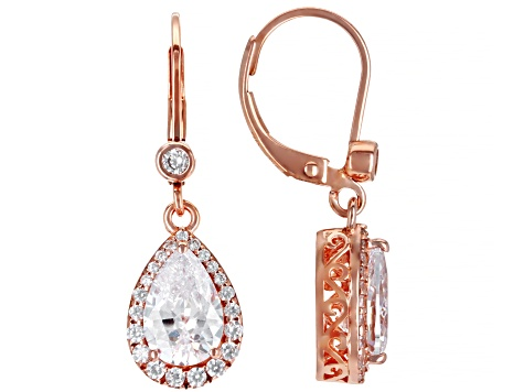 White Cubic Zirconia 18k Rose Gold Over Sterling Silver Drop Earrings 5.08ctw