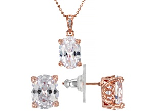 White Cubic Zirconia 18k Rose Gold Over Sterling Silver Pendant With Chain And Earrings Set 12.74ctw