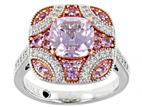 Pink Lab Created Sapphire And White Cubic Zirconia Platineve Ring 3.09ctw