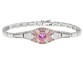 Pink Lab Created Sapphire And White Cubic Zirconia Platineve Bracelet 4.88ctw