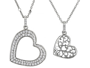White Cubic Zirconia Platineve Heart Shape Pendant And Chain With Children's Chain 0.98ctw