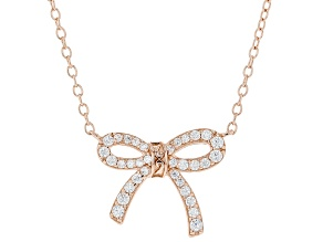 White Cubic Zirconia 18k Rose Gold Over Sterling Silver Necklace 0.47ctw