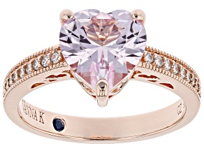 Pink Lab Sapphire & White Cubic Zirconia 18k Rose Gold Over Sterling Silver Heart Shape Ring 2.88ctw