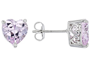 Pink Lab Created Sapphire Platineve Heart Shape Earrings 3.75ctw