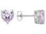 Pink Lab Created Sapphire Platineve Heart Shape Earrings 3.75ctw