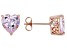 Pink Lab Created Sapphire 18k Rose Gold Over Sterling Silver Heart Shape Earrings 3.76ctw