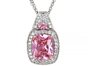 Pink And White Cubic Zirconia Platineve® Pendant With Chain 11.85ctw