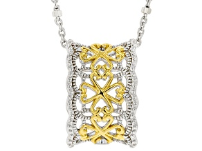 Platineve® and 18K Yellow Gold Over Sterling Silver Pendant With Chain
