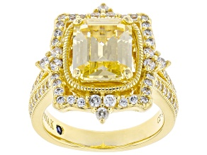 Yellow and White Cubic Zirconia 18k Yellow Gold Over Sterling Silver Ring
