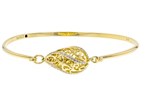 White Cubic Zirconia 18k Yellow Gold Over Sterling Silver Bracelet