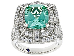 Green Lab Created Spinel and White Cubic Zirconia  Platineve® Ring