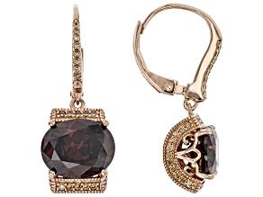 Brown and Champagne Cubic Zirconia 18k Rose Gold Over Sterling Silver Earrings