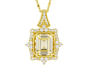Canary And White Cubic Zirconia 18k Yellow Gold Over Sterling Silver Pendant With Chain