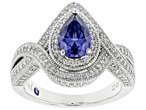 Blue and White Cubic Zirconia Platineve ® Ring