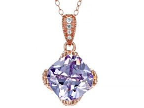 Purple & White Cubic Zirconia 18k Rose Gold Over Sterling Silver Pendant With Chain 7.60ctw