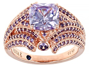 Purple Cubic Zirconia 18k Rose Gold Over Sterling Silver Ring. 5.40ctw