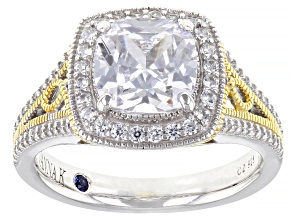 Cubic Zirconia Platineve® & 18k Yellow Gold Over Sterling Silver Ring 4.29ctw  (2.50ctw DEW)