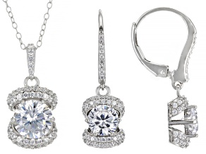 Cubic Zirconia Platineve® Pendant With Chain and Earrings Set. 7.13ctw