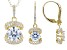 Cubic Zirconia 18k Yellow Gold Over Silver Pendant With Chain and Earrings Set.