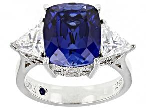 Blue Lab Created Sapphire & Cubic Zirconia Platineve® Anniversary Ring