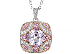 Pink Lab Created Sapphire And Cubic Zirconia Platineve® Pendant With Chain 2.89ctw